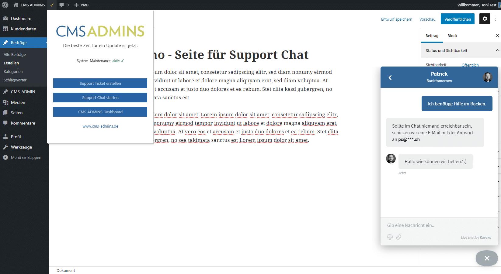 CMS ADMINS Wartungs Plugin mit Support und Chat